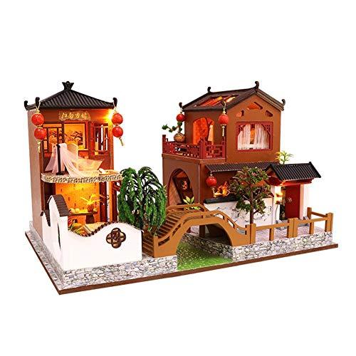 jinclonder DIY Puppenhaus aus Holz Miniatur Möbel Kit, chinesischen traditionellen Stil Architekturmodell DIY Cottage, Geburtstagsgeschenk -