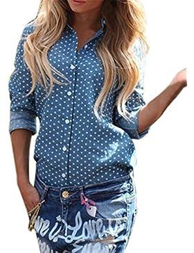 ZANZEA Mujeres Blusa Con Manga Larga Dot Imprecion Camisa Blouses Tops Talla 36-50