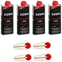 4 x Original Zippo Benzin + 4 x Flints im Spender