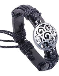 SUYA pulseras,3pcs, pulsera de la aleación de la flor hueco, de cuero de vaca de la pulsera, joyería de la aleación, joyería, pulsera creativo, regalo creativo