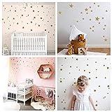 WandSticker4U®- Wandtattoo 60 Sterne zum Kleben | Schwarz/Silber/Gold | Wandsticker Sternenhimmel Aufkleber | Wand Deko für Babyzimmer Kinderzimmer Möbel Wohnaccessoires (C. Sterne: Gold)