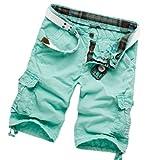 Feoya Herren Pants Jungen Causal Baumwolle Cargo Shorts Cargohose Hose mit Gürtel Farbe Größe Wählbar
