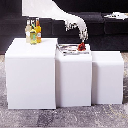 Coffee Table Layers White High Gloss Amazon Co Uk Kitchen: UEnjoy High Gloss Nest Of Coffee Table Side Table Living