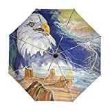 ALAZA Adler Unter stürmischem Himmel Gemälde Regenschirm Reise Auto Öffnen Schließen UV-Schutz-windundurchlässiges Leichtes Regenschirm