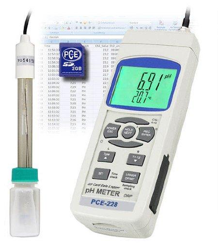 PCE Instruments PCE-228 pH-Messgerät / pH-Messer / pH / Temperaturmessgerät / pH-Messgeräte / SD-Kartenspeicher (1 ... 16 GB) Gb-meter