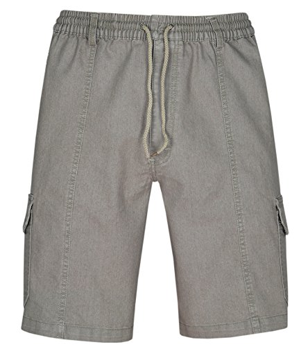 T-MODE Herren Schlupf-Jeans Shorts Kurze Hose aus Stretch Baumwolle-Beige-3XL -