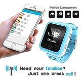 GPS Locator per i bambini bambino intelligente Watch Phone chiamata SOS pista Bluetooth per iOS Android (Blu)