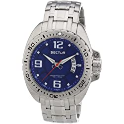 Sector Men's Quartz Watch with Blue Dial Analogue Display and Silver Stainless Steel Bracelet R3253573004