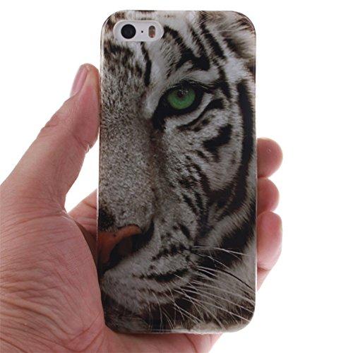KATUMO®iPhone 5 Custodia, TPU Protettiva Cover in Silicone Custodia per Apple iPhone 5 5S Bumper Silicone Case Cover Casi,Sexy Ragazza Tigre Bianca