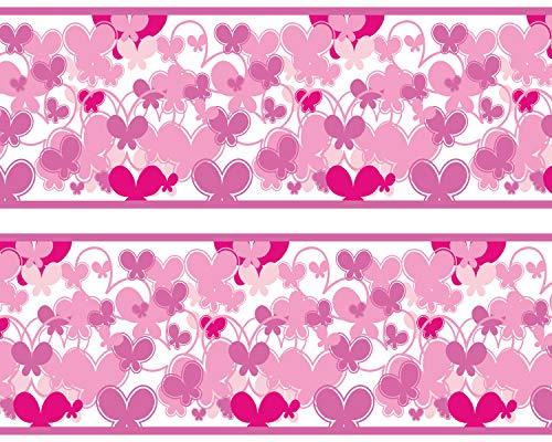 "Kleisterbordüre \""Schmetterlinge Pink\"", 4-teilig 520x15cm, Tapetenbordüre, Wandbordüre, Borte, Wanddeko,Muster, rosa"