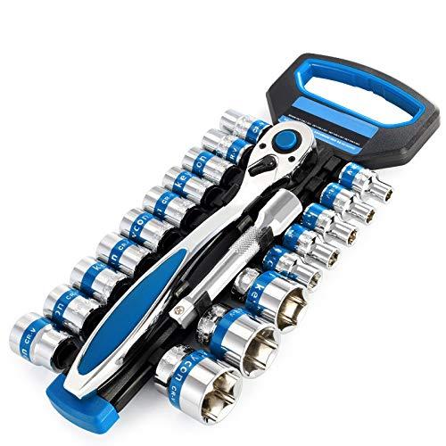 EDFDJED 28 stücke 1/4-zoll Steckschlüssel Set + Verlängerungsstange Stick ratsche steckschlüssel drehmomentschlüssel Auto Motorrad Reparatur Werkzeuge kit -