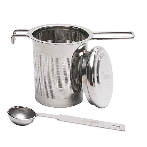 Sweese Teesieb Teefilter - Edelstahl Sieb für Loseblatt Grain Tee-Schalen, Tassen und Töpfe, Kostenlose Portionierlöffel