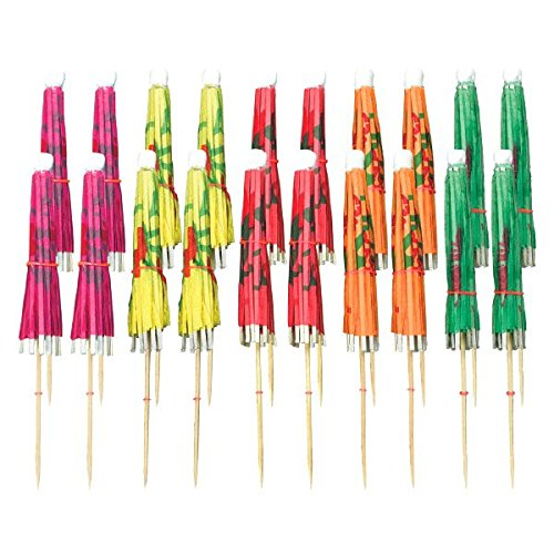 amscan Regenschirm-Dekopicker, 20er Pack, Bunte Schirmchen, 10cm