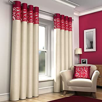 Wonderful RING TOP FULLY LINED PAIR EYELET READY MADE CURTAINS RED BLACK SILVER CREAM  BLUE (Red