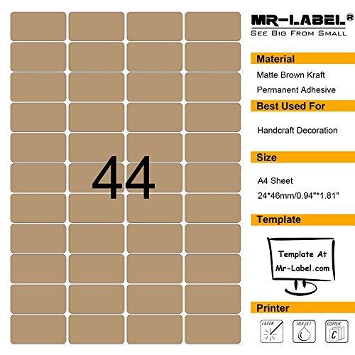 mr-label ® Blanko Kraft Etiketten-selbstklebende Aufkleber für Geschenk decoration|hand craft| Finishing Touch (Größe: 24* 46mm) 10 sheets/440 labels 100 Sheets
