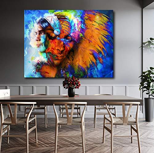 HD Abstrakte Wandkunst Bilder Für Wohnzimmer Indischen Mann Und Feder Frau Coole Leinwand Malerei Wohnkultur Poster 40x50cm