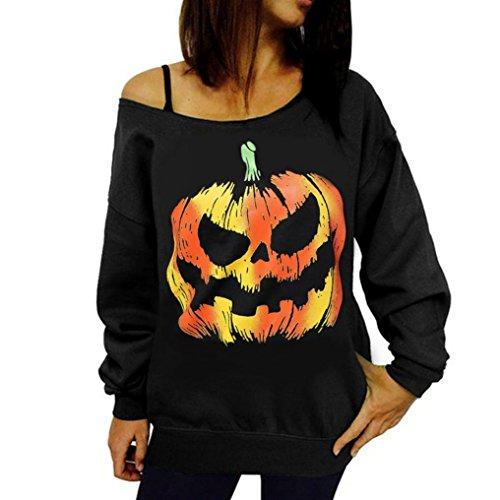 Frauen sexy Pullover Sweatshirt, Hmeng Halloween Kürbis Muster Pullover aus Schulter lange Ärmel Bluse Tops (M, Schwarz) (Stiefel Fleece Lammfell Herren)