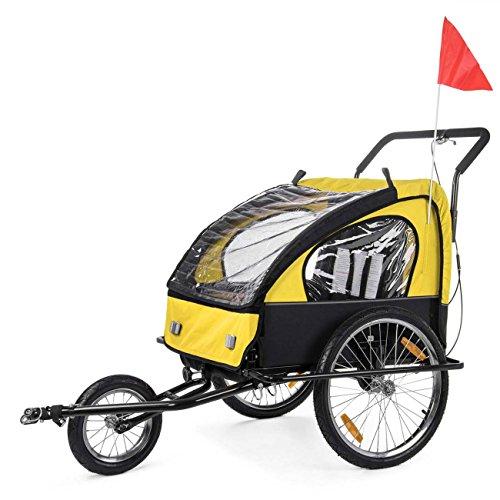SAMAX Fahrradanhänger Jogger 2in1 Kinderanhänger Kinderfahrradanhänger Transportwagen für 2 Kinder Gelb/Schwarz - Black Frame - 4