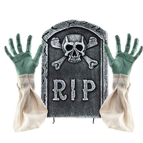 Prextex.com 2-in-1 gruselige Halloween Friedhofsdekoration, Grabstein mit Zombiehänden und ()