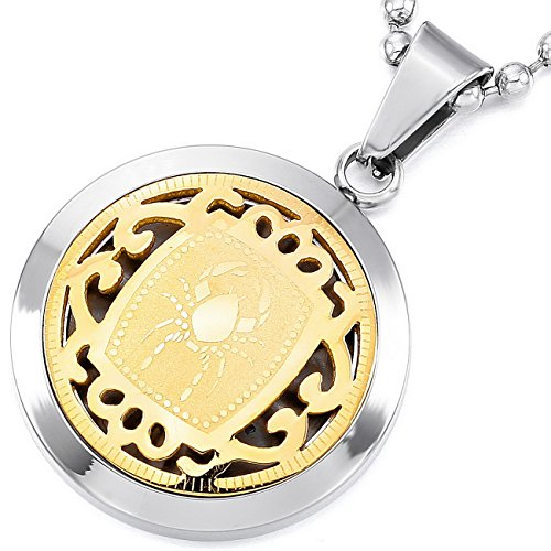 MeMeDIY Silber Golden Zwei Ton Edelstahl Anhänger Halskette Krebs Horoskop Tierkreis Sternzeichen ,mit 58cm Kette - Kundenspezifische Gravur