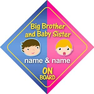 Big Brother And Baby Sister On Board Personalised Car Sign New Baby / Child Gift / Present