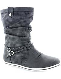 Damen Stiefeletten Stiefel Warm Gefüttert Boots Flache Schlupfstiefel Schuhe  3777 6ab270dd40