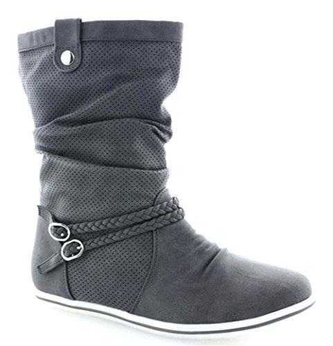 Damen Stiefeletten Stiefel Boots Flache Schlupfstiefel Schuhe Grau 2