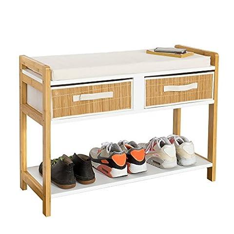 SoBuy® moderne Sitzbank, Schuhregal mit 2 Körben, Schuhschrank mit Sitzkissen, FSR26-WN