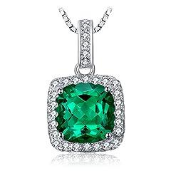 Idea Regalo - JewelryPalace Cuscino 3.3ct Nano Russo Verde Smeraldo Artificiale Halo Collana Solido 925 Argento Sterling 45cm