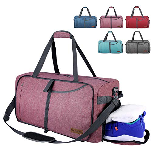 CANWAY Faltbare Reisetasche Leicht Sporttasche mit Abnehmbar Schulterriemen & Schuhfach Reisegepäck für Reisen Sport Gym Urlaub (Dunkelrot, 65L)