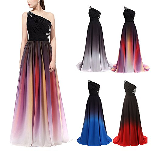 OBEEII Women Bridesmaid Dress Gradient Color Chiffon Formal Long Dresses High Waist Ball Gowns for Wedding Cocktail Evening Party Prom Pageant Ceremony UK Size 6-24