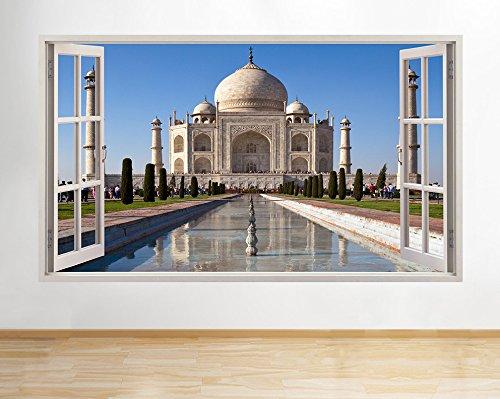 h252-taj-mahal-india-agra-blue-sky-window-wall-decal-3d-art-stickers-vinyl-roomlarge-90x52cm