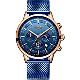 LIGE Relojes Hombre Moda Impermeable Cuarzo Analógico Reloj para Hombre Negocio Vestido con Acero Inoxidable Azul Banda de Malla