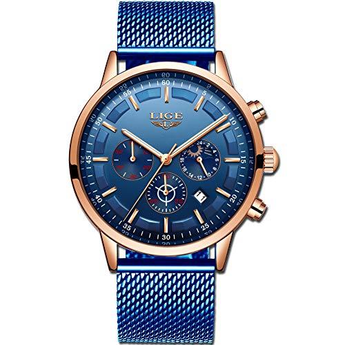 LIGE Herren Uhren Mode wasserdichte Chronograph Quarz Uhr für Mann Business Kleid mit Schwarzem Edelstahlgewebe 9877M