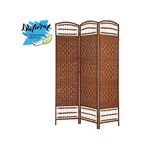Biombo/Separador de Ambientes Grande, de Bambú, Color Wengué, para Dormitorio o Salón, Decorativo (170cmX120cmX2cm) -Hogar y Más