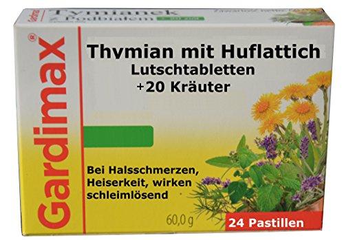 Halsschmerzen Schleim (Lutschtabletten, Extrakte aus Thymian und Huflattich plus 20 ausgesuchte Kräuter - antibakteriell, entzündungehemmend, schleimlösend, bei Halsschmerzen, Heiserkeit, Stimmbänderentzündung, 24 Tabletten, Gardimax, erkältungsmittel)