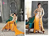 I-Brand Girls' Georgette Achkan Salwar Suit Set (Ibisund116_Yellow_Free Size)