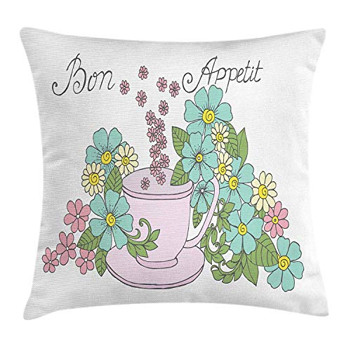 GONIESA Bon Appetit Throw Pillow Cushion Cover, Blossoming Flowers a Pink Cup Hand Drawn Calligraphy Dinner Time Theme, Decorative Square Accent Pillow Case, 18 X 18 Inches, Multicolor