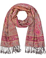 "SIX ""Festival"" Pashima Schal Halstuch mit Paisley-Muster in Pink, Gelb, Grau (426-354)"