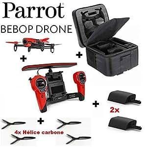 Méga Pack Drone Parrot Bebop Rouge GPS avec caméra 14MP + Skycontroller + 2 Batteries supplémentaire + 4 Hélices en carbone + Mallette sac à dos de rangement avec double compartiments et poche Zippée