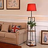 HU HAO UK Stehlampe- Nordic Eisen Stehlampe Wohnzimmer Schlafzimmer Studie Tuch Leselampe Moderne Vertikale Tischlampe mit Holz Regal (Farbe : C)