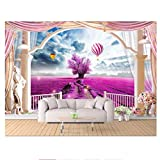 Globo de aire caliente de lavanda Roma balcón mural -Pintura de papel tapiz 3d personalizado murales de pared 3d papel tapiz para paredes de sala de estar 3 d 280cm (W) x230cm (H)