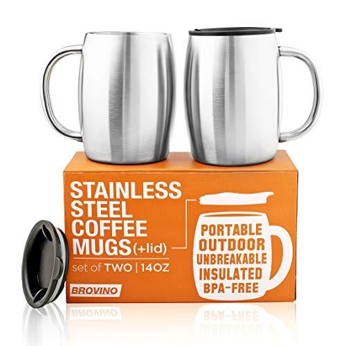 Edelstahl Kaffeetassen mit Deckel (2er Set) - 414 oz doppelwandige Stahl-Kaffeegläser mit Deckel & Griff - Coffee to Go, Reisen, Outdoor, Camping - Vakuum, bruchsicher, langlebige Kaffeetasse