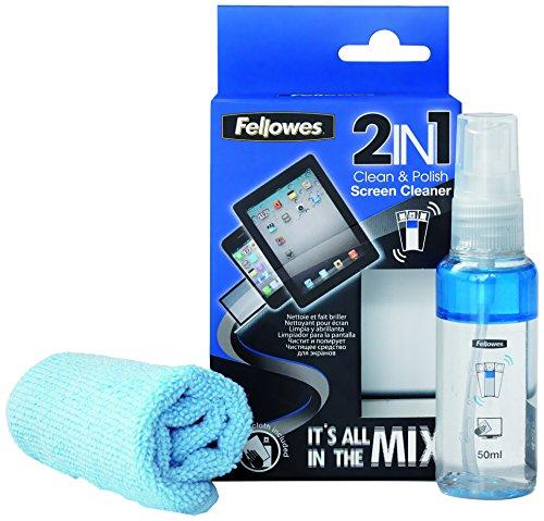 Fellowes 99223 - Kit de limpieza 2 en 1 para pantalla de ordenador, portátiles, tablet, MP3, MP4, smartphones (50 ml)