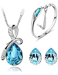 Valentine Gifts : YouBella Presents Gracias Collection Crystal Jewellery Combo Of Necklace Set / Pendant Set With...
