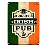 Metallschild mit Murphy's Irish Pub Motiv Aluminiumschild Blechschild Werbeschild Türschild Warnschild Irish Pub Bar Irland Pub Lebensart Flagge Murphy's Whiskey Bier Blechschild Schild Dekoration