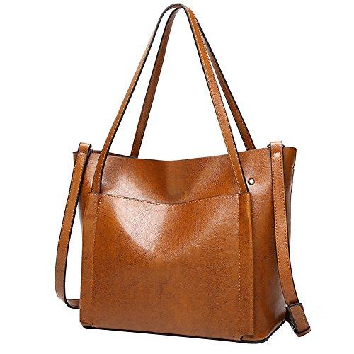 PB-SOAR Damen Elegant Schultertasche Shopper Tote Umhängetasche Ledertasche Handtasche Henkeltasche 28x27x14cm (Braun) Braun
