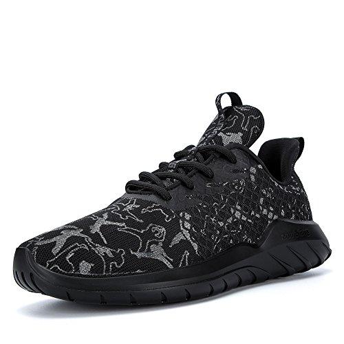 Soulsfeng Sportschuhe Herren Damen Freizeit Turnschuhe Schnürschuhe Mesh Laufschuhe Sneaker Leichtgewicht Bequeme Schuhe(Schwarz 40EU) - Schnürschuhe Laufschuhe