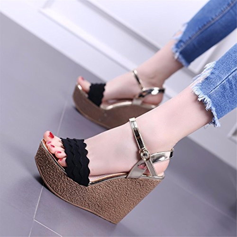 YMFIE Moda estate pizzi fondo spesso spesso spesso pendenza e confortevole toe toe sandali lady scarpe da spiaggia,34 UE,nero | Materiali Accuratamente Selezionati  | Uomini/Donne Scarpa  a27f57