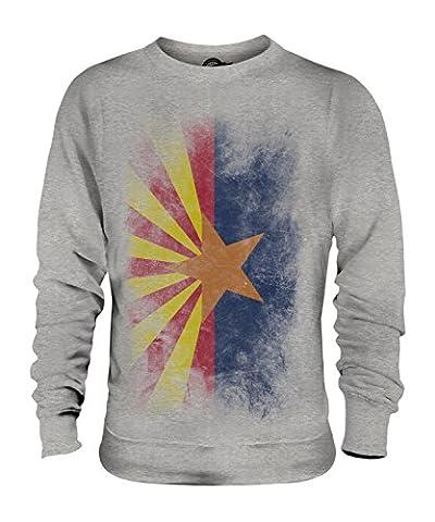 CandyMix Bundesstaat Arizona Verblichen Flagge Unisex Herren Damen Sweatshirt, Größe X-Large, Farbe Grau Meliert